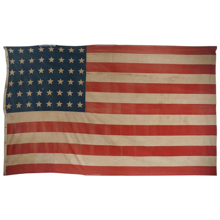 Early American 48 Star Flag, Very Large | From a unique collection of antique and modern political and patriotic memorabilia at https://www.1stdibs.com/furniture/folk-art/memorabilia-political-patriotic/