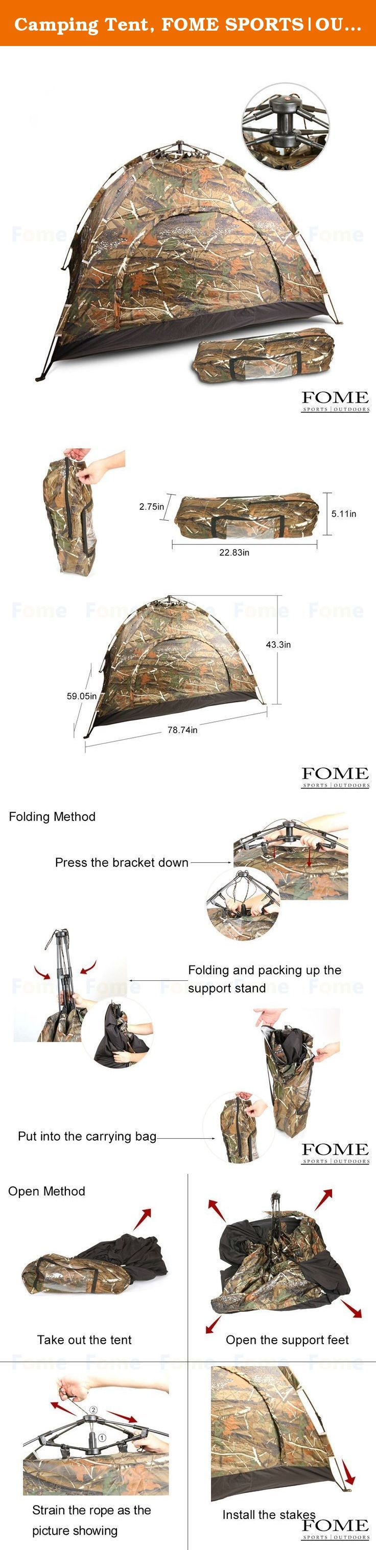 Camping Tent, FOME SPORTS|OUTDOORS Lightweight 2 Person Automatic Outdoor Waterproof Folding Family Pop up Tent for Travel Camping Camouflage One Year Warranty. Camping Tent, FOME SPORTS|OUTDOORS Lightweight 2 Person Automatic Outdoor Waterproof Folding Family Pop up Tent for Travel Camping Camouflage One Year Warranty Features: This tent is a necessity product on your next outdoor adventure Ideal for camping and outdoor activities Classic dome design and automatic opening system…
