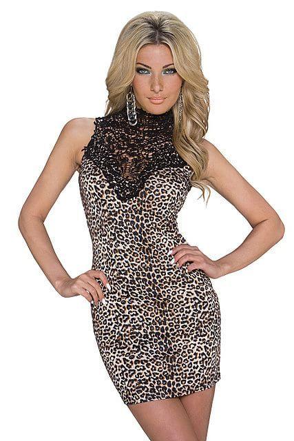 Vestido corto mini ajustado cuello alto cisne de encaje transparente estampado animal leopardo | Marrón Beis, Negro | Emamoda