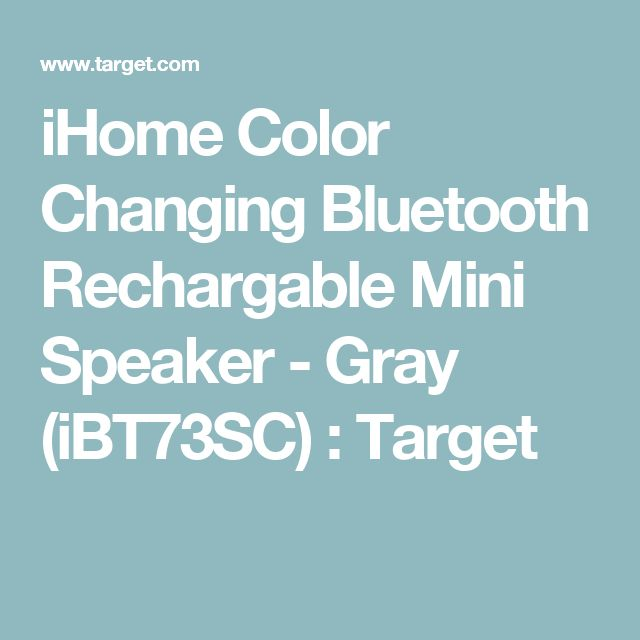 iHome Color Changing Bluetooth Rechargable Mini Speaker - Gray (iBT73SC) : Target