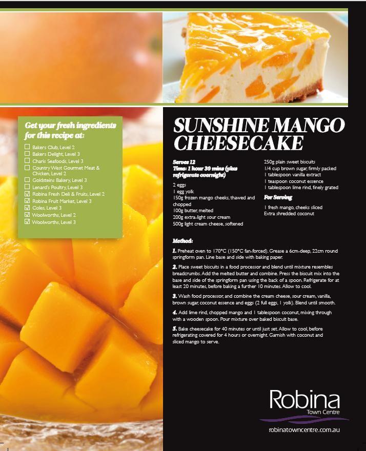 Sunshine mango cheesecake