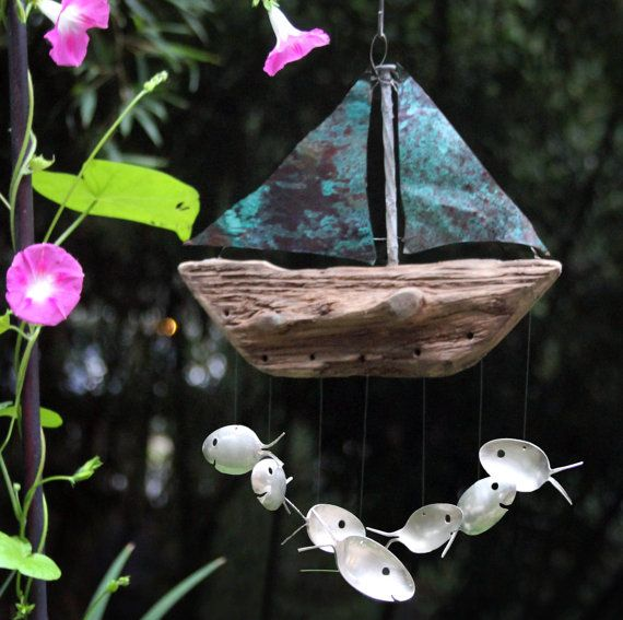 Seven Sailing Spoonfish - Copper and Drift wood Wind chime on Etsy, $64.95