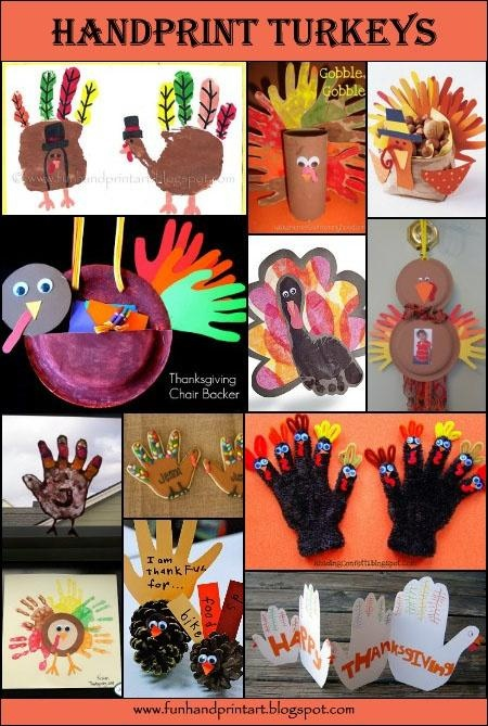Handprint Turkey Thanksgiving Crafts for kids.  Nothing beats using their own little hands and feet for prints.