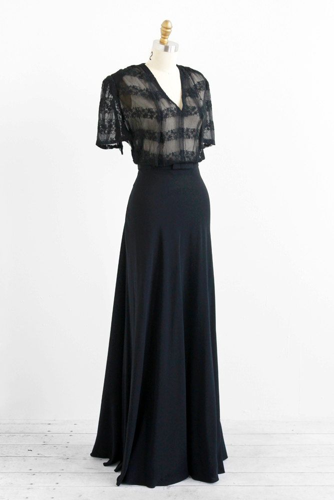 vintage 1930s dress / 30s dress / Black Bias Cut Floor Length Lace Evening Gown