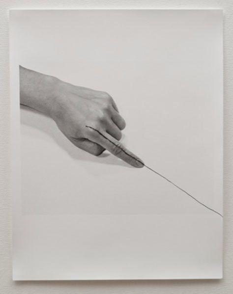 LILIANA PORTER Untitled (line), 1973 silver gelatin and graphite 14 × 11 in 35.5 × 28 cm