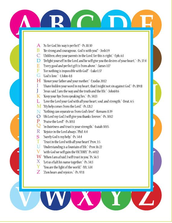 Scripture for every letter of the alphabet...use it as a wall hanging or to make a Scripture ABC book