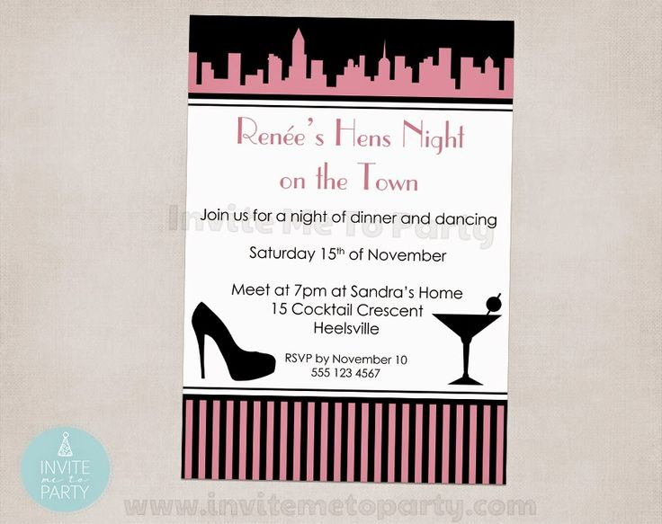 Bachelorette Party Hens Night And The City Inspired Invite Me To