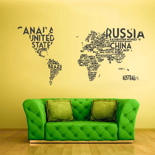 mur vinyle autocollant stickers dcor art chambre design murale monde carte pays mots cite z811