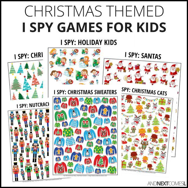 Christmas Theme I Spy Games for Kids! Each I spy game included in this pack has two pages: one with the game sheet and one with a page to record the answers. (AD)