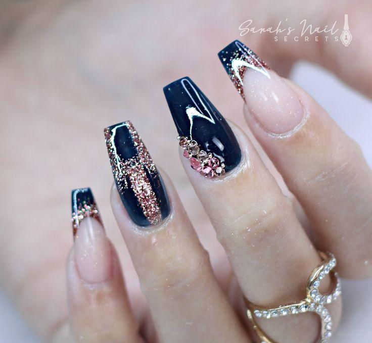 Dark Blue And Rose Gold Nails Rose Gold Nails Blue Wedding Nails Gold Acrylic Nails