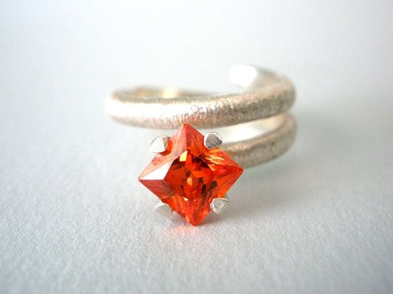 FREE SHIPPING Bright Orange Square Zircon Silver Ring Stacking