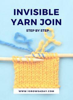 Junção de fio invisível - passo a passo | 10 linhas por dia #knittingtutorials #howto #kn ...
