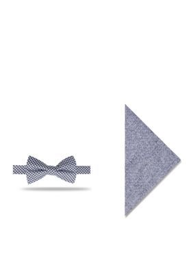 Crown & Ivy™ Men's Cayce Gingham Set Bow Tie And Pocket Square - Blue - Regular - 58 In.