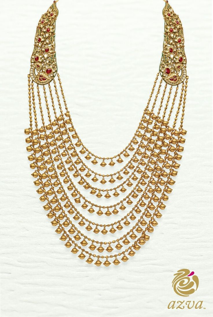 22 carat gold floral designer pendant with multiple beads chain and - Dancing Peacocks And Bead Chains In The Azva Seven Rows Haar Goldjewellery Luxury