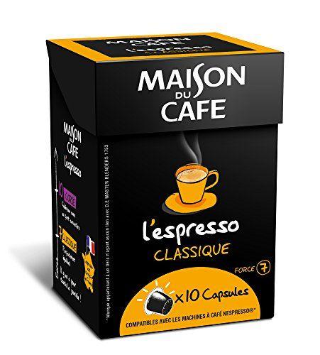 MAISON DU CAFE l'Espresso Classique 10 capsules compatibles avec les machines à café Nespresso – Lot de 8 (80 capsules)