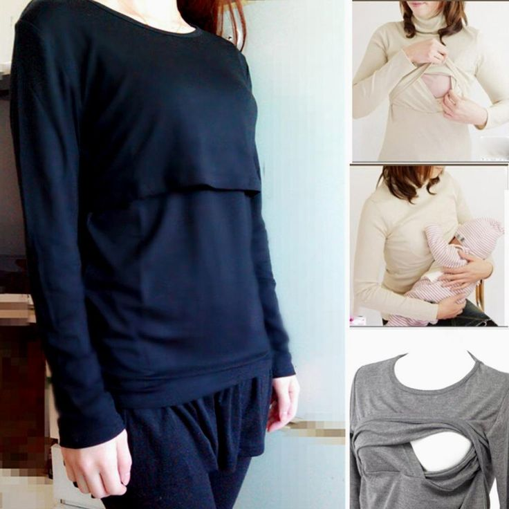 Mummy Lounge y Breastfeeding Cotton Nursing Long Sleeve Solid Tops Clothes $11.28 => Save up to 60% and Free Shipping => Order Now! #fashion #woman #shop #diy www.mybreastfeedi...