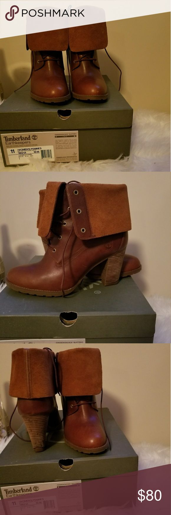 Timberland ankle boots 3 inch heel leather ankle boot, worn twice, small scratch on toe Timberland Shoes Ankle Boots & Booties