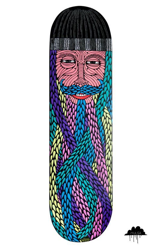 © Mulga 2012, Skateboard Art - Bearded Beanie Man with Curly Mo, Acrylic and Posca on skateboard This is a skate deck that I painted on with paint and then went over it with black posca pen. He is a happy curled mustache wearing colourful bearded displaying beanie wearing dude.