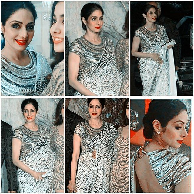Wow!! The Superstar Sridevi Kapoor at Manish Malhotra birthday event....she is looking super stunning 😃😘 #sridevi #manishmalhotra #birthday #superstars #legend