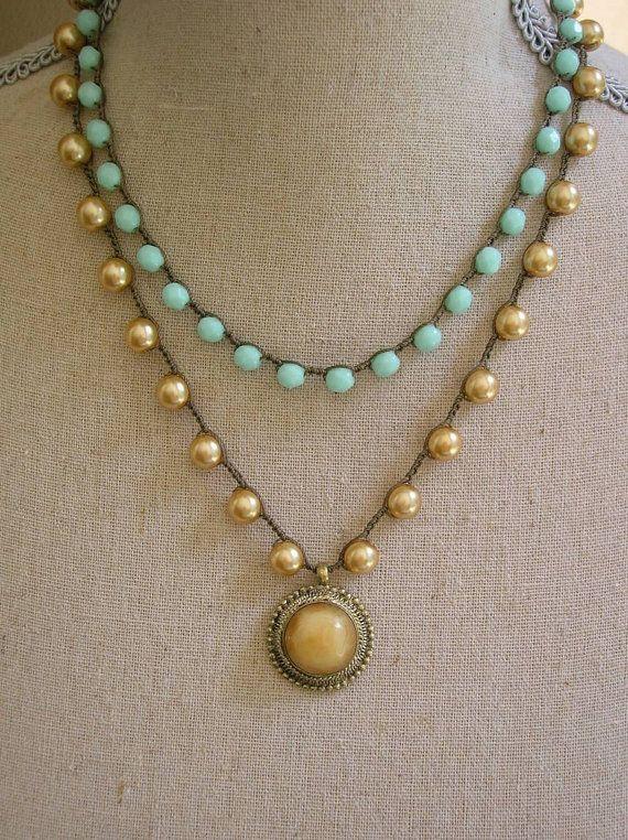 Boho chic crochet necklace double strand necklace by 3DivasStudio, $68.00