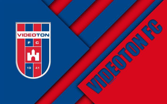 Download wallpapers Videoton FC, blue red abstraction, Videoton logo, material design, 4k, Hungarian football club, emblem, Szekesfehervar, Hungary, OTP Bank Liga, football, Nemzeti Bajnoksag