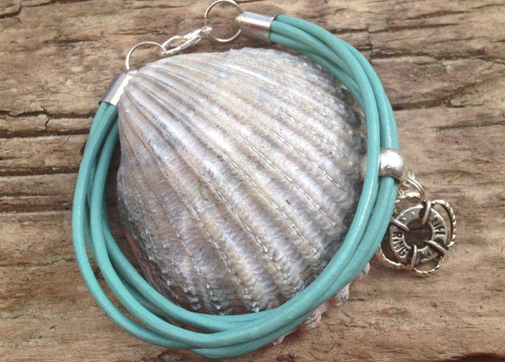 Blue Leather Handmade Bracelet with Rudder Charm by EffyBuu on Etsy