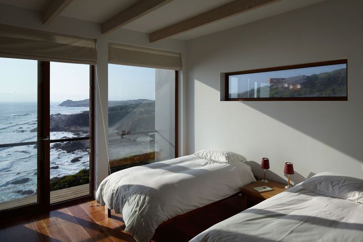 A set of solar panels, a wind-powered well, and passive sustainable strategies make living miles from municipal utilities a non-issue for this Chilean beachgoer. Dubbed the Casa Cuatro, the house floats atop a 180-foot cliff overlooking the Pacific Ocean, a 90-minute drive from Santiago and nearly as far from municipal utilities. Photo by Cristóbal Palma. This originally appeared in Tunquen Treasure.