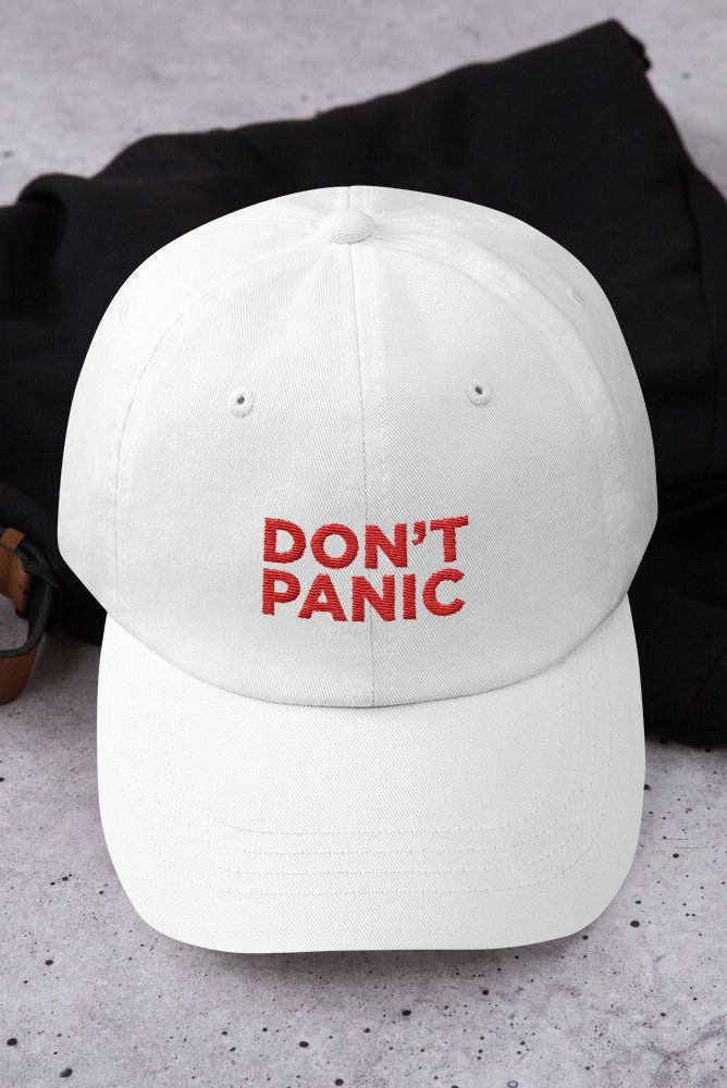 555ed964d0dcd Don t Panic Hitchhikers Guide to the Galaxy Unstructured Classic Dad Cap   accessories  hat  dontpanic  galaxy  baseballcap  cap  hitchhikerscap ...