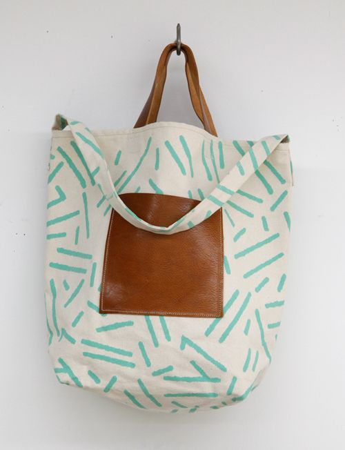 canvas and leather tote by A.B.P. (Alcalde/Brown/Parker)