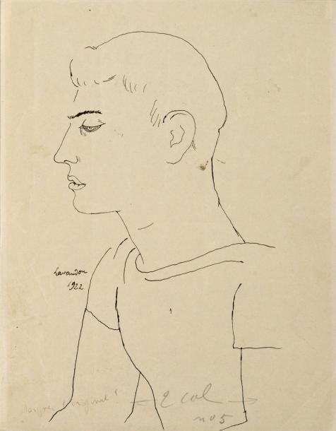 Jean Cocteau – Raymond Radiguet, 1922, Encre noire sur papier, 27x21 cm