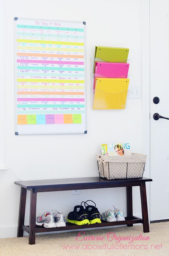 Create an exercise schedule & system that works for you. Great tips on creating a space and schedule with  A Bowl Full of Lemons