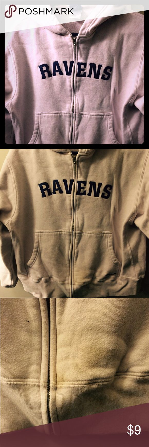 NFL Reebok Ravens Zip Up Hoodie This women's zip up hoodie is offices NFL Reebok. It is a pale pink/pale lavender/blush color. There is a faint stain at the bottom near the zipper ( see picture). Size large, but fits more like a women's medium I think. Reebok Tops Sweatshirts & Hoodies