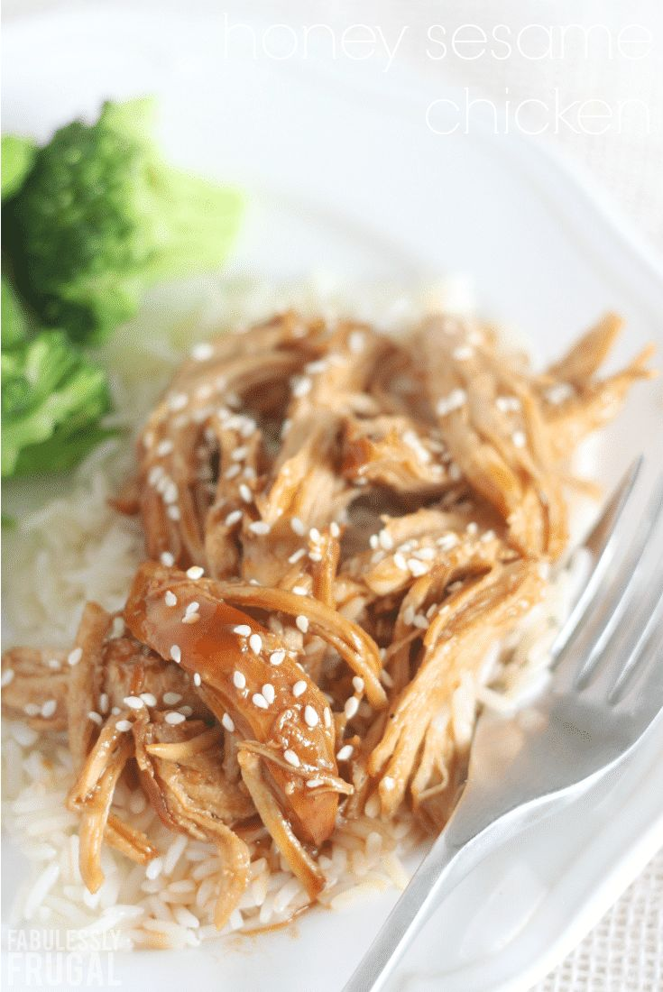 One of my favorite slow cooker and Instant Pot chicken recipes - Honey Sesame Chicken!