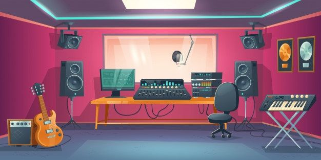 Download Music Studio Control Room And Singer Booth For Free Music Studio Cartoon Background Anime Background