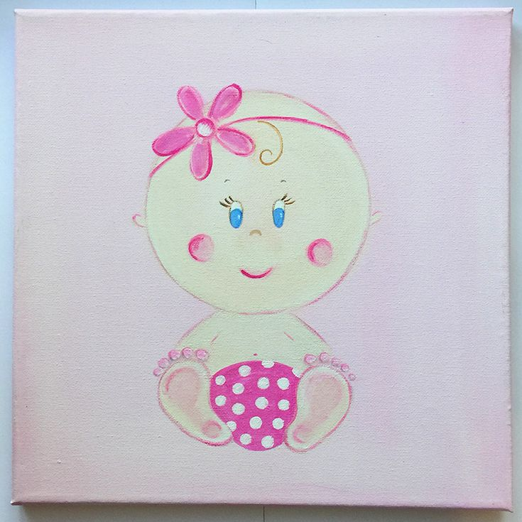 Handmade children's canvas painting with a baby in shades of pink, fuchsia and beige.