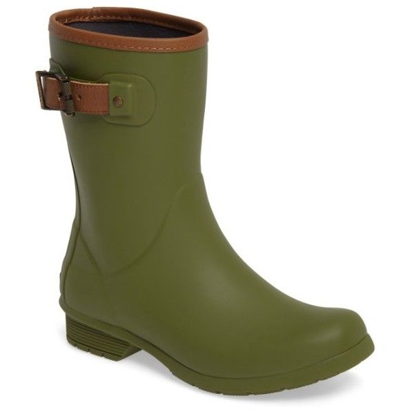 Women's Chooka City Solid Mid Height Rain Boot ($85) ❤ liked on Polyvore featuring shoes, boots, olive, shearling-lined boots, rubber boots, wellies boots, lined rain boots and army green shoes