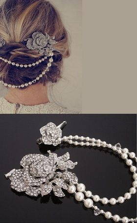 Vintage Style Hair Draping Pearls and Rhinestone Flower Features, Anita. Featured in Elle UK