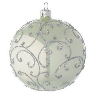 Palla vetro verde metallizzato e argento 100 mm | vendita online su HOLYART
