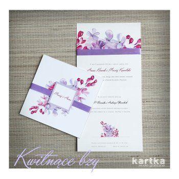 Zaproszenie w odcieniach fioletu z motywem bzu