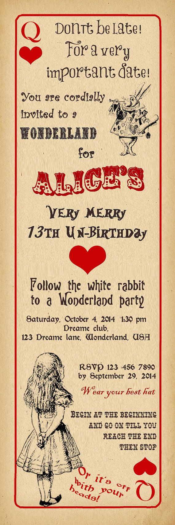 The 25+ best Alice in wonderland invitations ideas on Pinterest ...