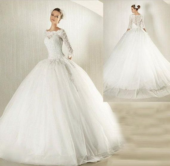 2014 New White Ivory Lace Wedding Dress TuTu Gown 3 4 Sleeve Bride Square Shoulder BallGown