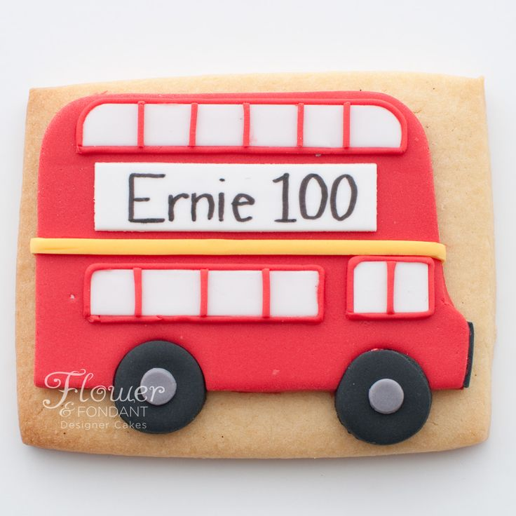 Double decker London bus sugar cookies for a 100th birthday celebration.