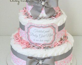 Chica Damasco rosado y gris pastel de pañal de bebé /