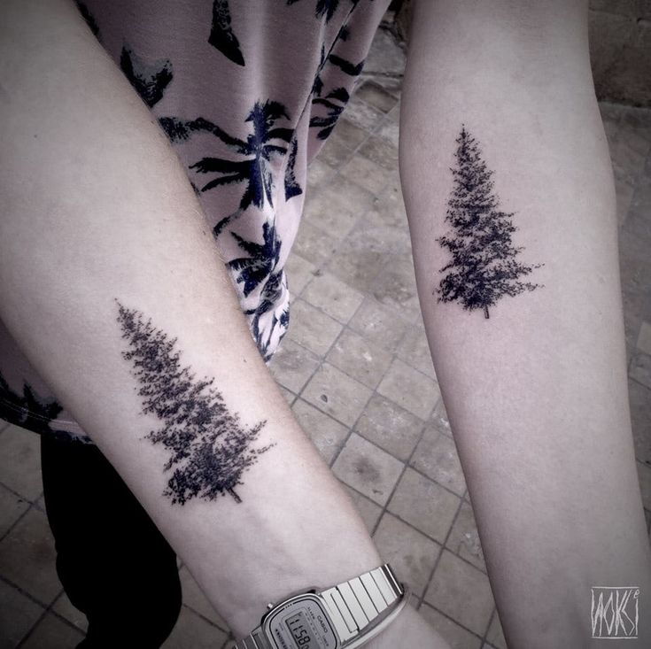 Two fir trees for two friends by Noksi. Nature tattoos are great for elegant and tasteful matching tattoos!