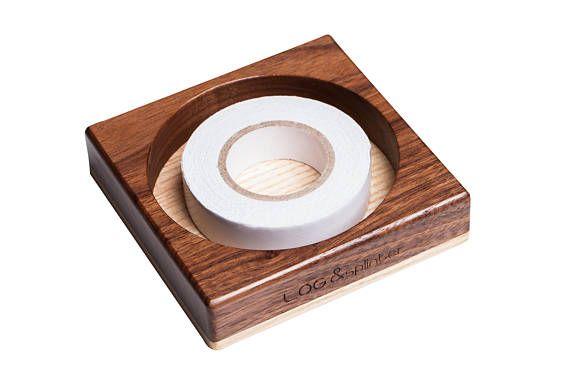 Wood scotch tape dispenser Wood pen holder Business card