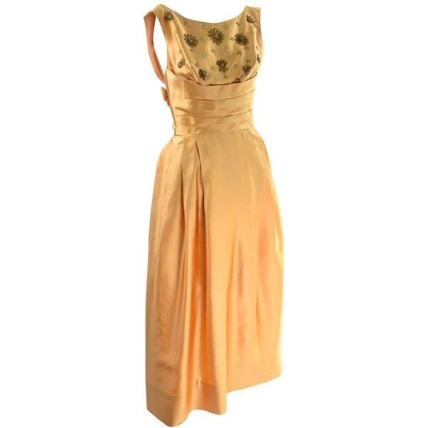 Preowned Will Steinman Vintage Gold Beaded Formal Evening Gown Dress... (5.752.375 IDR) ❤ liked on Polyvore featuring dresses, evening dresses, gold, beige formal dress, beaded dress, strap dress, slip dress and formal wear dresses
