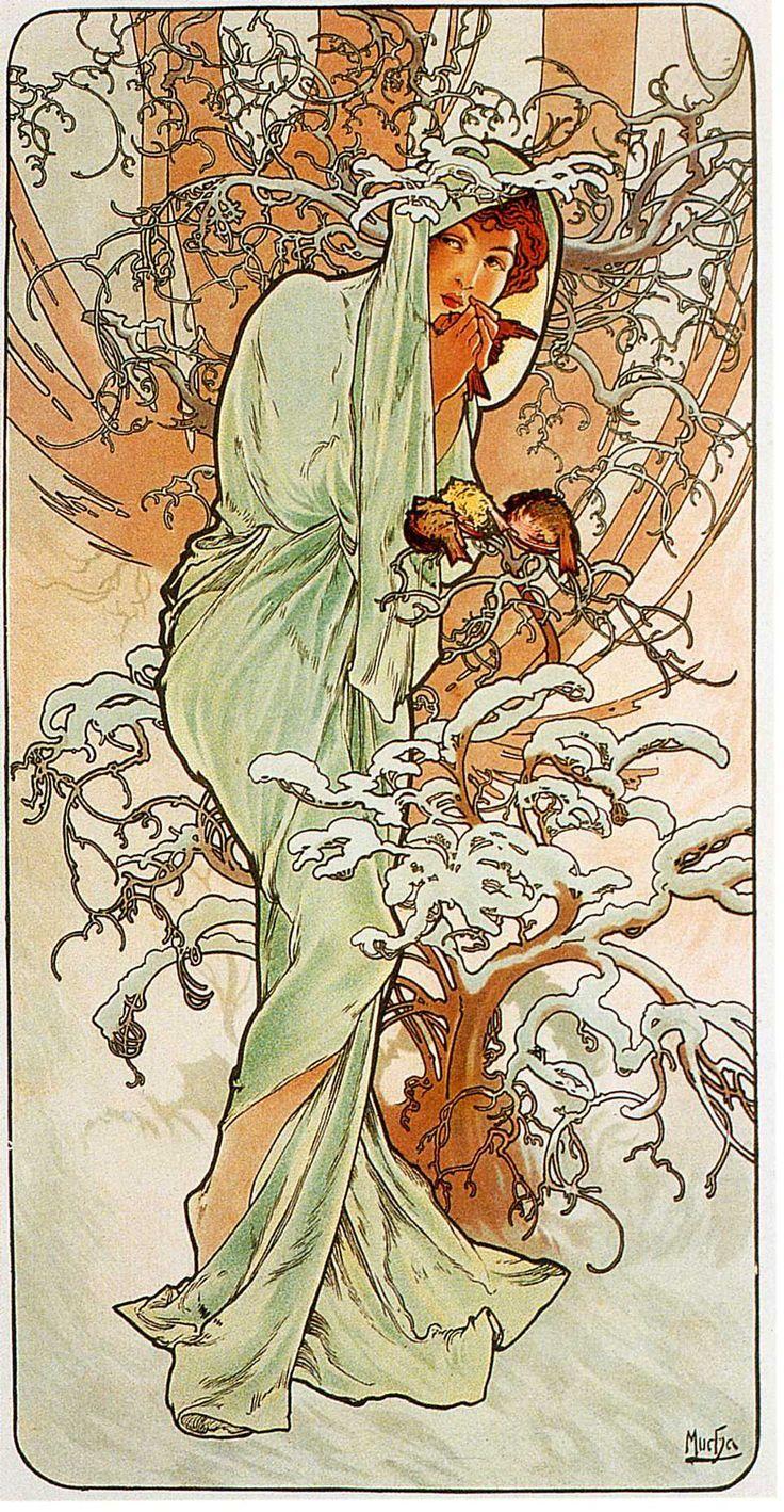 "Alphonse Mucha. ""Hiver"". The seasons (1896). Art Nouveau."