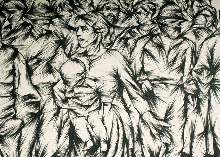 06 – Tribute to Il Quarto Stato, Studio  – 310 x 161 cm – acrylic on canvas – los angeles 2012 – secondo  particolare