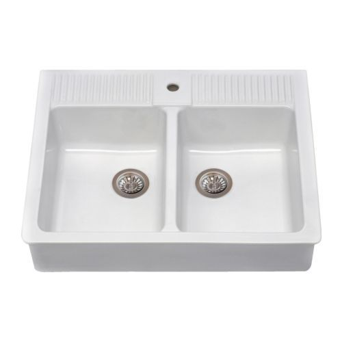 this is a great looking white sink from Ikea no drainboard about $312