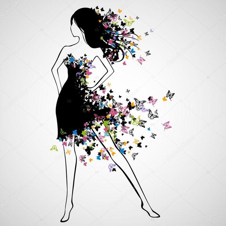 Векторная иллюстрация красивой женщины с платье бабочка